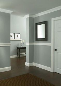 Dining Room Paint Color Ideas Cool Dining Room Paint Colors With Chair Rail - Home Design Ideas Dining Room Paint Colors, Living Room Colors, Living Room Paint, Living Rooms, Kitchen Colors, Two Tone Walls, Grey Wall Color, Color Walls, Wainscoting Styles