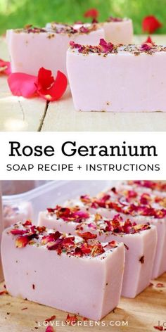 - Rose Geranium soap recipe + soap making instructions Learn to make natural rose geranium soap with essential oils, mineral color, and dried flower petals. Part of the Simple Soap Recipe series that includes three other soap recipes Handmade Soap Recipes, Soap Making Recipes, Handmade Soaps, Diy Soaps, Diy Herbal Soaps, Diy Savon, Rose Geranium Essential Oil, Rose Soap, Diy Soap Rose Petals