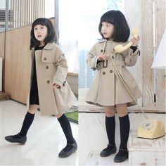 Ucuz  Doğrudan Çin Kaynaklarında Satın Alın: Moda yürümeye başlayan kız bebek çift- göğüslü yaka trençkot ceket rüzgarlık giyim palto 2-7years100% yeni ve yüksek kalite!moda sıcak trençkot çocuklar bebek kızlarTarzı: çift- göğüslü yakaMalzeme: p