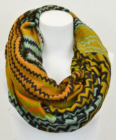 Love this Leto Collection Gold & Green Zigzag Infinity Scarf by Leto Collection on #zulily! #zulilyfinds
