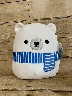 Squishmallow Adorable Polar Bear With Scarf Plush Kellytoy Christmas Plushie Cute Stuffed Animals, Cute Animals, Cute Squishies, Winnie The Pooh Plush, Cute Pillows, Cute Plush, Bear Doll, Pillow Sale, Animal Pillows