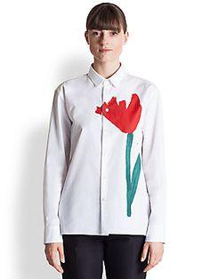Marni Poplin Tulip-Print Shirt