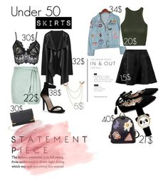 """""""day and night, under 50 skirts and outfit."""" by darrienbrown ❤ liked on Polyvore featuring River Island, Chicnova Fashion, WithChic, Topshop, Boohoo, Charlotte Russe, under50 and skirtunder50"""