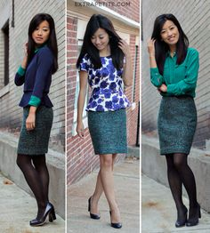 Anny Taylor skirt worn 3 ways by @Extra Petite Blog, love the silk camp shirt too!