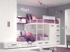 Enhancing Your Bedroom with Bunk Beds – Bunk Beds for Kids Bunk Bed Designs, Kids Bedroom Designs, Cute Bedroom Ideas, Bedroom Bed Design, Kids Room Design, Room Ideas Bedroom, Girls Bedroom, Bedroom Furniture, Bedroom Decor