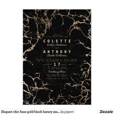 Elegant chic faux gold black luxury marble Wedding Card