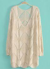 Beige V Neck Half Sleeve Hollow Pullover Sweater