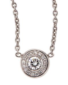 18k White Gold Pave Diamond Pendant Necklace by Roberto Coin at Neiman Marcus.