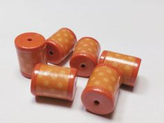 Orange Polka Dot Barrels Beads -  Paper and Polymer Clay by BarbiesBest on Etsy