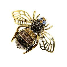 Bee broach. This beautiful gold tone black, champagne and clear rhinestone insect bug realistic bumble bee brooch with sapphire blue eyes will be perfect for your DIY project – anything wedding, brooch bouquet, decoration for cakes, guest book, candle, pillows, clutch bags and hats,