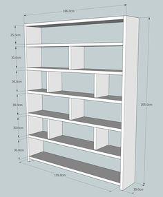 Cette superbe grande bibliothèque en bois fabriqué à partir de bois récupéré est 166cm large x 205 cm haute x 30 cm de profondeur. Espace d'étalage extra profond pour les plus grands livres et ornements, rares dans les meubles modernes. Bois massif, étagères 3,5 cm d'épaisseur seront