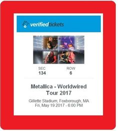 Holidays And Events: 2 Tickets Row 6 Metallica And Volbeat 5/19/17 Gillette Stadium Hottest 2017 Show BUY IT NOW ONLY: $649.0