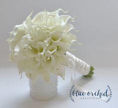 Creamy White, Real Touch, Calla Lily Bouquet with 60 Callas by blueorchidcreations on Etsy