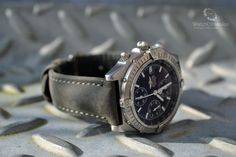 WatchObsession is the place to get the latest updates on the new releases from Hirsch  shown at Baselworld.  This is the new Hirsch Heritage in Grey modeled on our Breitling Chronomat Blackbird