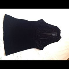 Black Velvet Halter with Black Beads This black velvet halter is beautiful and would be great for NYE. It is made by Karen Kane and has black shinny beads on the front. Size L - excellent condition. Karen Kane Tops