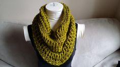Chunky Green Knitted Cowl Infinity Scarf by KnotsandBowsBoutique, $30.00