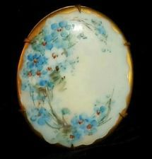 FAB Large Hand Painted Vintage 1800's Victorian Porcelain Flower Brooch 271AG5