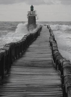 October storms battering Capbreton Lighthouse, France.