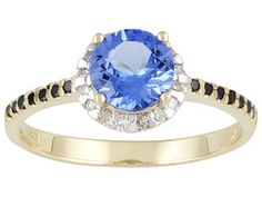 Tanzanite 1.00ct Round With Black And White Diamond .17ctw Round 10k Yellow Gold Ring