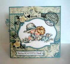 Such a sweet LOTV image and gorgeous card design by Nixe-Moni. Pretty Cards, Cute Cards, Card Making Inspiration, Making Ideas, Card Making Designs, Beautiful Handmade Cards, Friendship Cards, Scrapbooking, Kids Cards