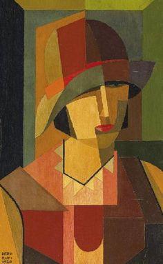 Emilio Pettoruti (1892-1971, Argentina) - Portrait of a Woman, 1920 Cubist Portraits, Cubist Paintings, Cubism Art, Art History, Pablo Picasso, Georges Braque, Cloche Hat, Tableau Matisse, Rene Magritte