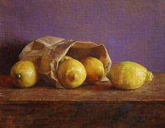 """Bag of Lemons,"" oil on canvas, by Christopher Thornock. Exhibit at Watts Fine Art, Zionsville, Indiana."
