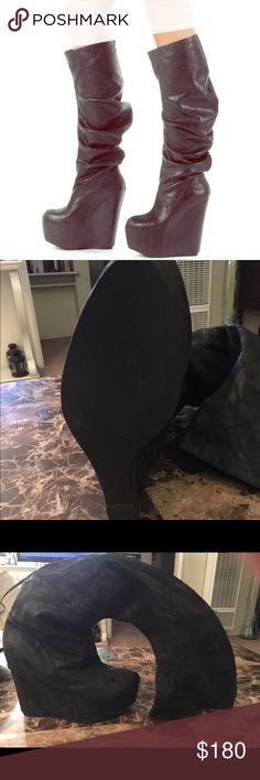 Jeffery Campbell size 8.5/9 Super awesome Jeffery Campbell black tall boots worn only 2 times. Small scuff great condition super unique! Jeffrey Campbell Shoes Heeled Boots