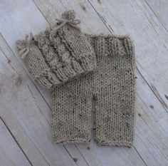 Custom Knit Cable Hat And Knit Baby Pants Set by CricketCreations, $50.00