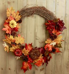 Fall Wreath- Classic Autumn Leaves and Pumpkins, Pine cones, and Floral