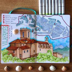 Впечатления от поездки в деревеньку Вилафамес⛪️ #art #architecture #drawing #sketch #sketchbook #leuchtturm1917 #trip #marker #markers #finecolour #shells #church #map #travel #journal #traveljournal #vilafames #village #spain #espana2015 #espana #sunnyday #liner #fabercastell