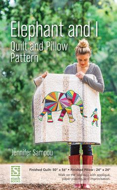 """Read """"Elephant and I Quilt and Pillow Pattern"""" by Jennifer Sampou available from Rakuten Kobo. Stitch a scrap-friendly quilt and pillow inspired by Jennifer Sampou's travels to Thailand. Pair paper-pieced and appliq. Quilting Projects, Quilting Designs, Sewing Projects, Mini Quilts, Baby Quilts, Elephant Quilts Pattern, Animal Quilts, Quilted Pillow, Paper Piecing"""