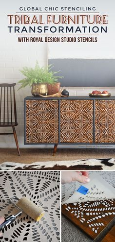 This gorgeous upcycle transformation features a wood cabinet that has repurposed and stenciled doors. See more of the furniture makeover using tribal stencils. DIY Furniture: This gorgeous upcycle transformation features a wo. Decor, Stenciled Doors, Redo Furniture, Painted Furniture, Wooden Cupboard, Upcycled Furniture, Home Decor, Furniture Projects, Stencil Furniture