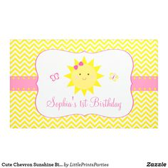 Cute First Birthday Invitations Awesome Cute Chevron Sunshine Birthday Banner Zazzle Yellow Birthday Parties, First Birthday Party Favor, Birthday Party Invitation Wording, First Birthday Banners, First Birthday Invitations, Pink Birthday, Girl First Birthday, Birthday Favors, Birthday Party Themes