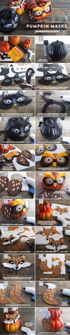 We are tricking our pumpkins by making them think they are a round black cat, a chubby horned owl and a sly orange fox. These balls of cuteness are made from using foam pumpkins, craft felt and googly eyes. Theme Halloween, Easy Halloween Decorations, Halloween House, Halloween Masks, Holidays Halloween, Halloween Pumpkins, Halloween Crafts, Halloween 2019, Halloween Makeup