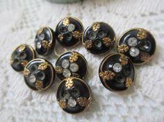 Vintage Black Glass and Rhinestone Buttons