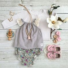 So cute!! Baby girl outfit flat lay.
