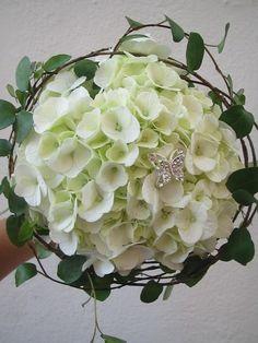 Vit hortensia brudbukett, vacker!