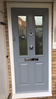 Hardwood-Front-Door-With-Sidelights-Made-To-Measure-Bespoke деревянные вход Grey Front Doors, Cottage Front Doors, Front Door Porch, Porch Doors, House Front Door, Painted Front Doors, Front Door Colors, Entry Doors, Windows And Doors