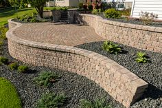 Warm colours bring comfort in this patio made with RomanPisa walls and Cobble pavers. Garden Retaining Wall, Warm Colours, Precast Concrete, Dream House Plans, Landscaping, Walls, Building, Outdoor Decor, Design