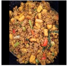 Thanksgiving stuffing with a twist   Ground beef, fried sweet plantains added after the meat was cooked and also croutons