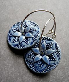 Porcelain Earrings  Star Flower in Delft Blue on by RoundRabbit, $32.00
