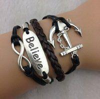 Amazon.com: Designer Inspired Multi-strand Cord Bracelet, Faux Leather, 3pcs Infinity Bracelet,believe Bracelet &Anchor Charm Bracelet --Ant...