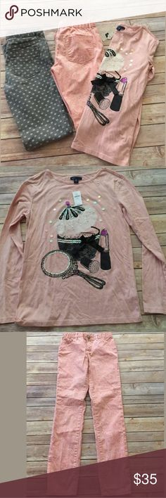 Nwt girls gap kids lot skinny jeans shirt 14/16 Cute lot of gap clothing !  Pink sparkly skinny jeans size 14 new without tags  Gray heart pattern skinny jeans size 14 new without tags   Long sleeve gap top new with tags Sz 14/16, small hole on he sleeve     Smoke/pet free home GAP Matching Sets