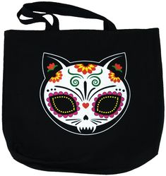Celebrate Dia de los Muertos (the Mexican Day of the Dead) every day with this tote bag! The evil of El Gato Muerto oozes from this colorful painted sugar skull by Evilkid Productions. - Original, ful