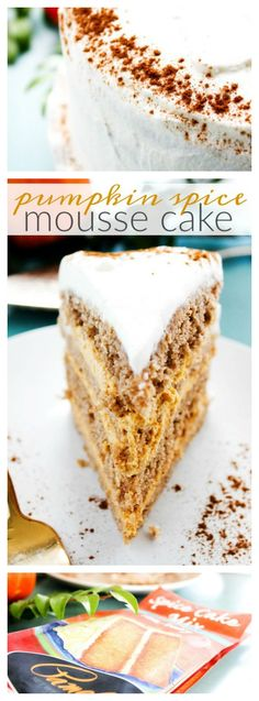 Pumpkin Spice Mousse Cake - A Dash of Sanity #ad