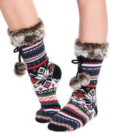 Loving this Black Faux Fur Pom-Pom Socks - Women on #zulily! #zulilyfinds