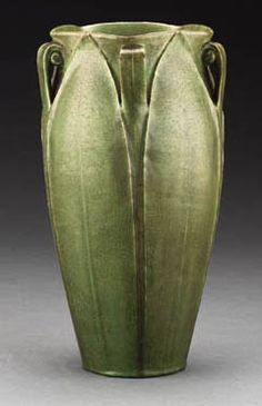 Tall Grueby matte green pottery vase with extra crisp carved leaf decoration. Description from pinterest.com. I searched for this on bing.com/images