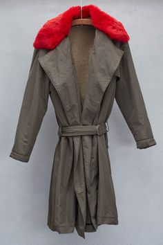 Army and Red Fur Collar Trench by Hache | shopheist.com