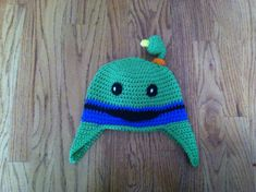 This hat is all crocheted and looks just like the character Bot from Team Umizoomi. It is warm and soft and would make a great gift for any