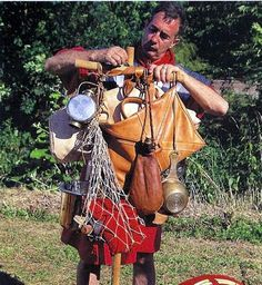 Impdimenta: This was the ancient ruc sack. A soldier carried everything he and the cohort would need on a march. In addition to the equipment carried individually, every eight men had the use of a mule to carry a tent, a rotary quern for milling grain, some of the heavier tools and I suspect anything else the men could secretly offload upon it without causing it's collapse.